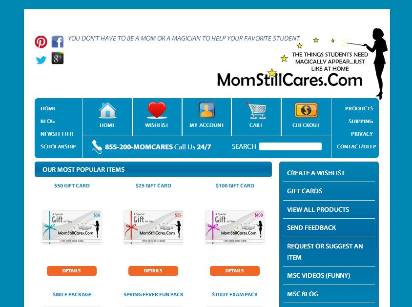 MonStillCares e commerce website